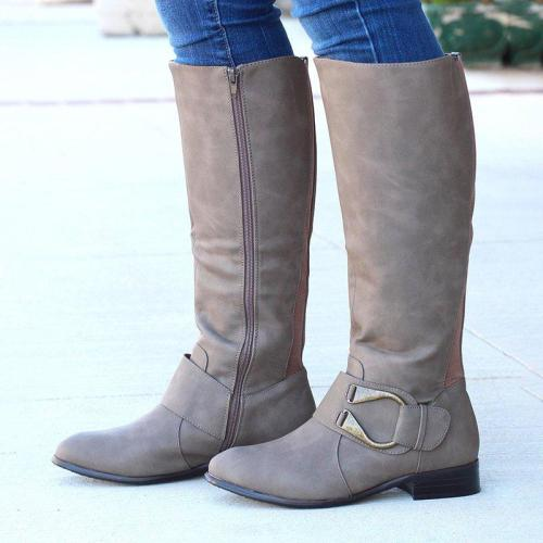Classic Autumn Fashion Side Zipper Knee Boots