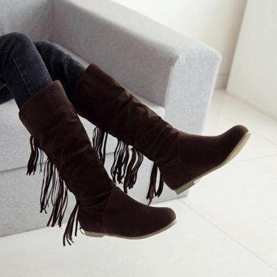 Simple Style Slip On Tassel Knee Boots