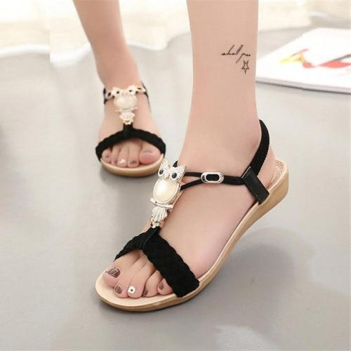 Wedge sandals women 2019 fashion bohemia beaded owl women sandals tenis feminino flip flop summer style shoes woman sandals