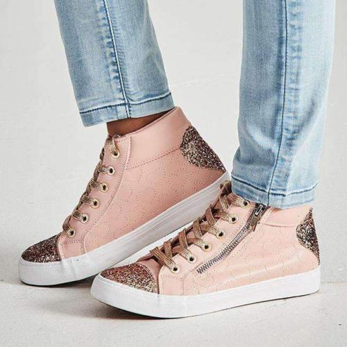 Women Round Toe Lace Up Flat Heel Sequin Casual Sneakers