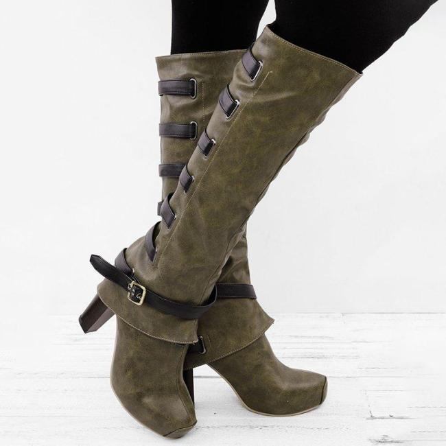 Large Size Vintage Casual High Heel Boots