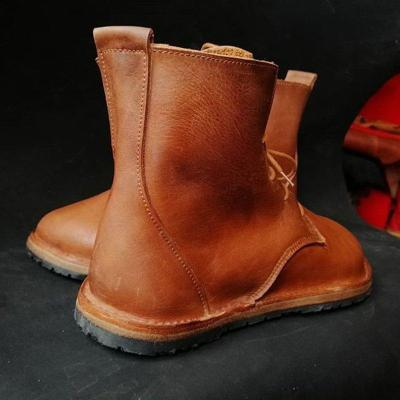 Women's soft leather lace-up casual boots