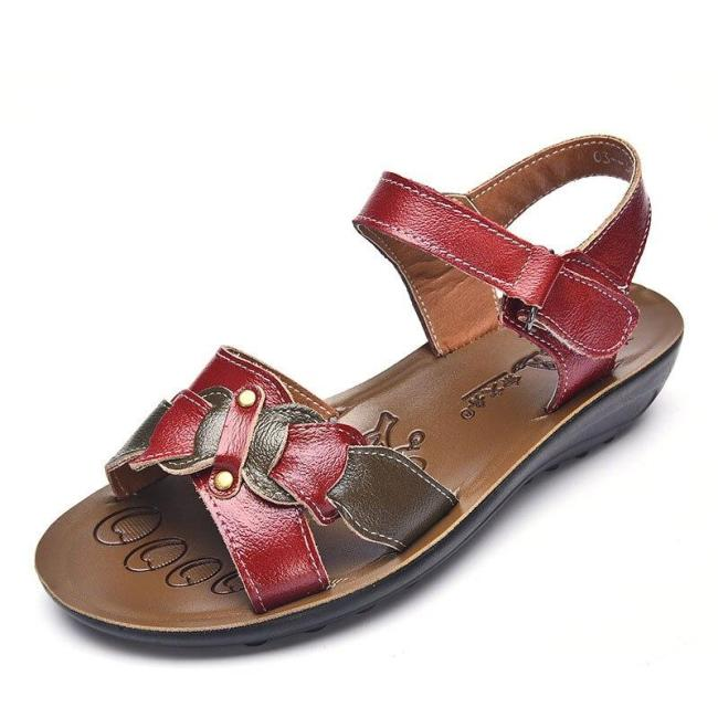 Women shoes 2019 new hook loop summer beach shoes woman comfortable slippers ladies shoes genuine leather flat sandals women