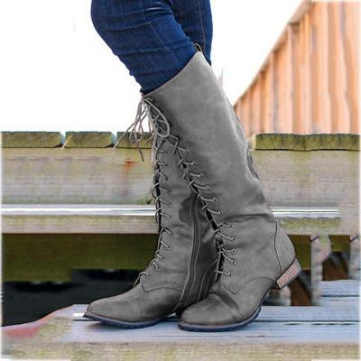 Low Heel Lace-Up Artificial Leather Womens Long Boots