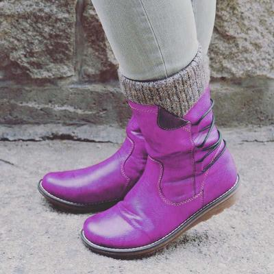 Pu Casual Low Heel Ankle Boots