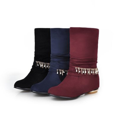 Women's Tassel Ankle Boots Heels Shoes Autumn and Winter 5594