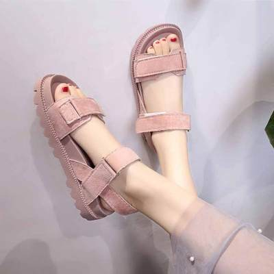 Women shoes adult solid sandals women 2019 fashion med heel height women sandals flat with casual shoes woman sandals female