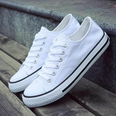 Casual shoes woman 2020 fashion breathable canvas sneakers women shoes lace-up flat with solid flats women sneakers plus size