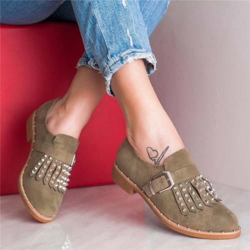 Plus Size Tassel Boho Suede Flat Heel Buckle Loafers