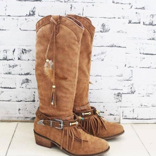 Suede All Season Adjustable Buckle Date Boots