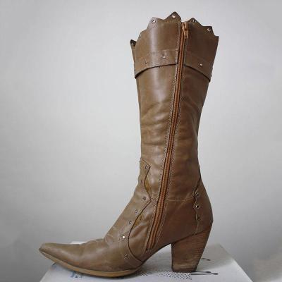 Women Pointed Toe Zipper Chunky Heel Pu Winter Casual Mid-Calf Boots