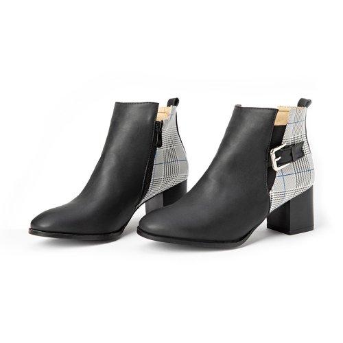 Women  Winter  Slip-On Zipper Button Boots