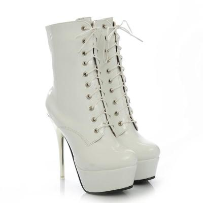 Women's Patent Leather Lace Up Platform Ankle Boots High Heels Shoes Autumn and Winter 9186