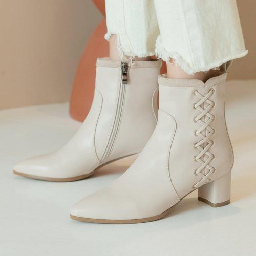 Zipper Block Heel Fall Boots