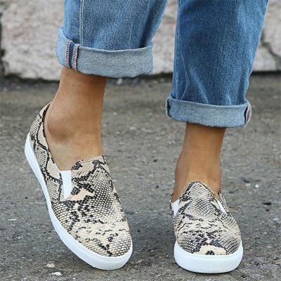 Women's Elastic Band Vulcanized Women Snake Skin Flats Ladies Plus size Woman Casual Flat Platform Female Comfy Shoes New