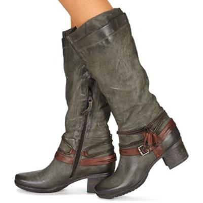 Women Winter Vintage Zipper Knee-High Boots