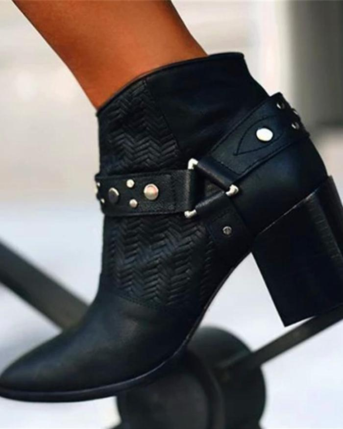 Pointed Toe Studded Chunky Boots