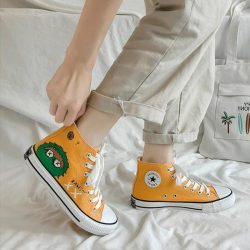 Women Sneakers Fashion Canvas Shoes New High-top Graffiti Trainers White Flat Loafers Classics Retro Casual Ladies Espadrilles