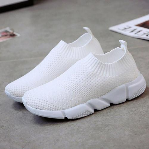 Women's shoes White sneakers Slip-on Breathable Soft Sock Shoes Women Sneakers Knitting Women's Summer Footwear