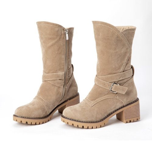 Women Winter Suede Slip-On Button Boots
