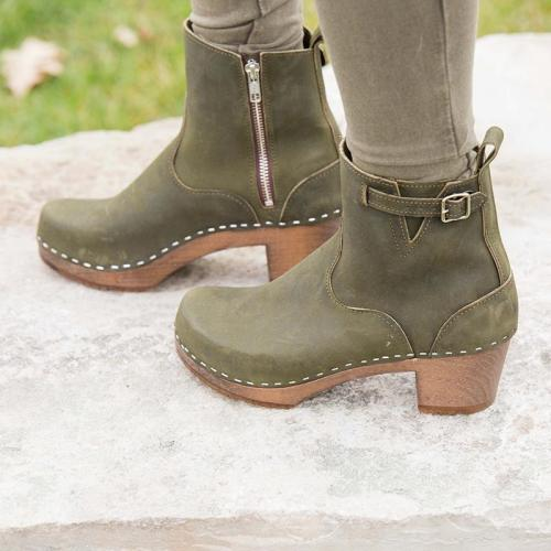 Side Zipper Buckle Strap Clog Heel Ankle Boots