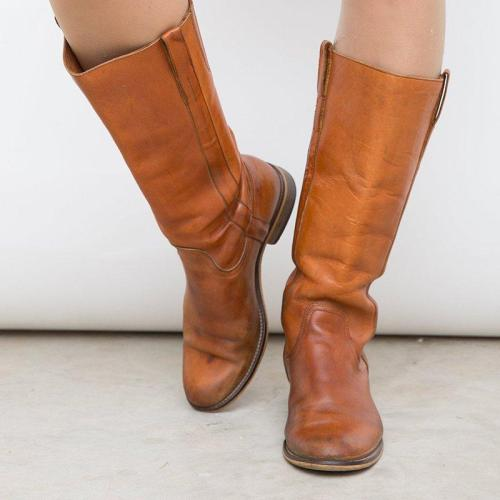 Low Heel Slip-On Pu Mid-Calf Casual Boots