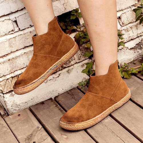 Women  Winter Vintage Slip-On Ankle Boots