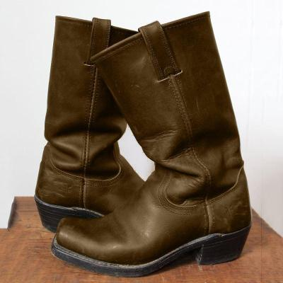 Vintage Square Toe Block Heel Motorcycle Boots Slip-On Mid-Calf Boots