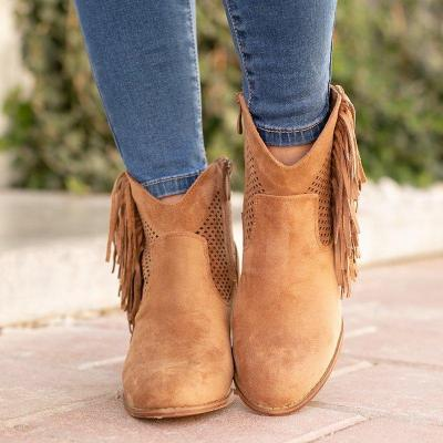 Plus Size Tassel Boho Suede Chunky Heel Ankle Boots