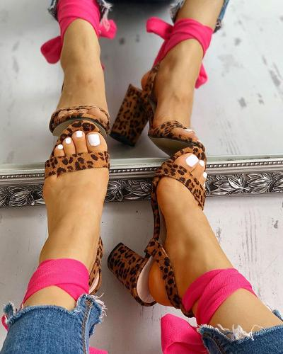 Suede Bandage Knotted Chunky Heeled Sandals