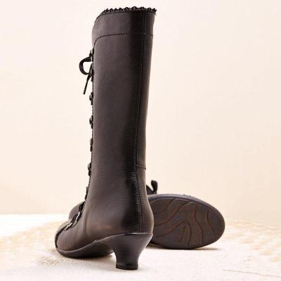 Women Winter Slip-On Lace-up Knee-High Boots