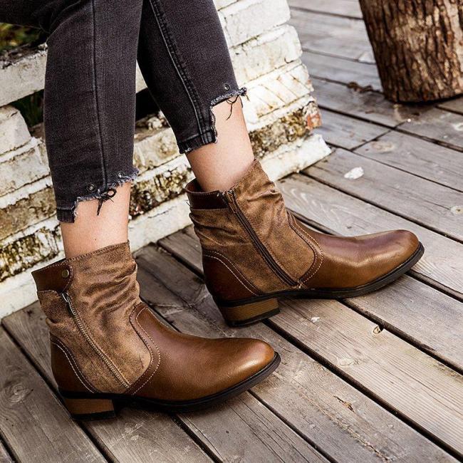 Brown Flat Heel Flat Women Round Toe Boots