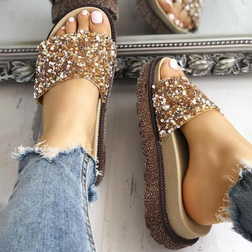 Women Platform Slippers Shiny Sequins Embellished Open Toe Sandals