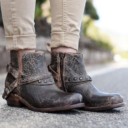 Women Winter Slip-On Vintage Button Ankle Boots