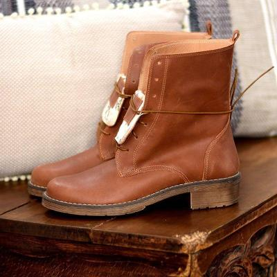 Lace-Up Chunky Heel Pu Leather Mid-Calf Casual Boots