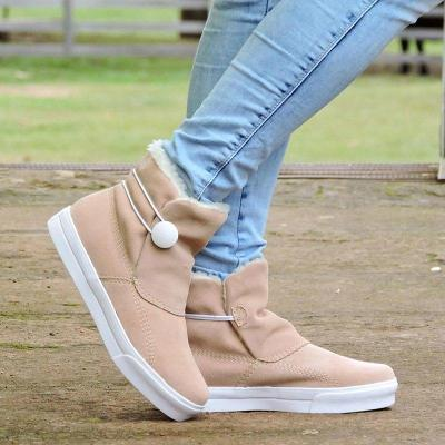 Women Winter Slip-On Button Snow Ankle Boots