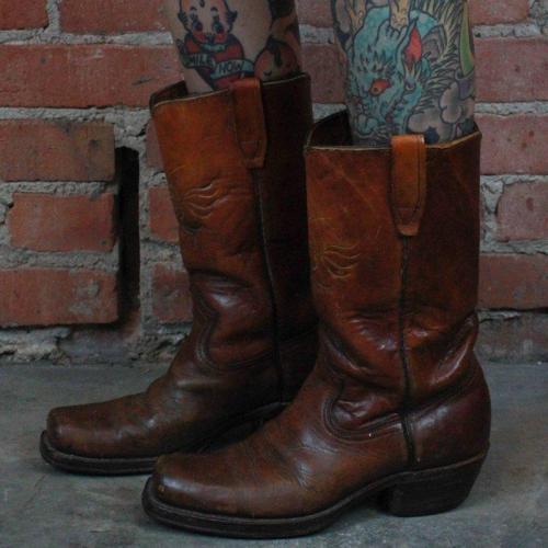 Vintage Square Toe Cowboy Boots Block Heel Women's Mid-Calf Boots