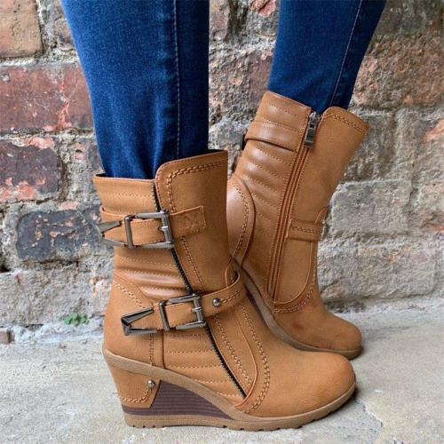 Women Vintage Double Buckle Strap Wedge Boots