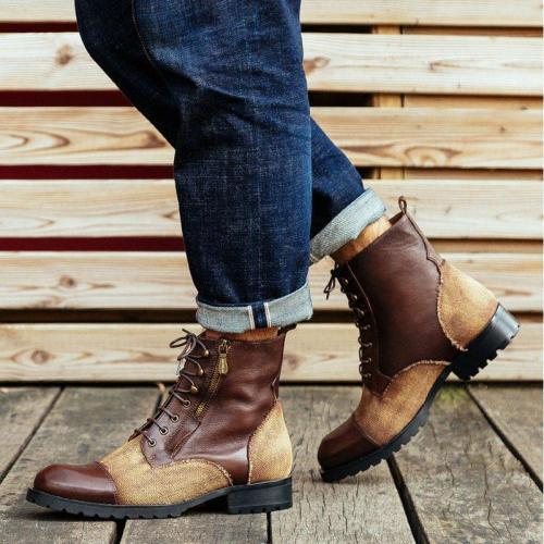 Flat Heel Men Round Toe Boots