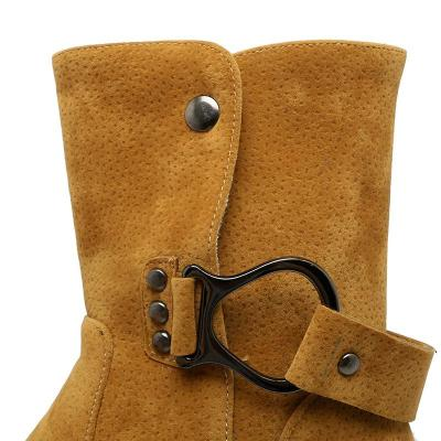 Women's Boots Round Toe Yellow Low Heel Casual Boots