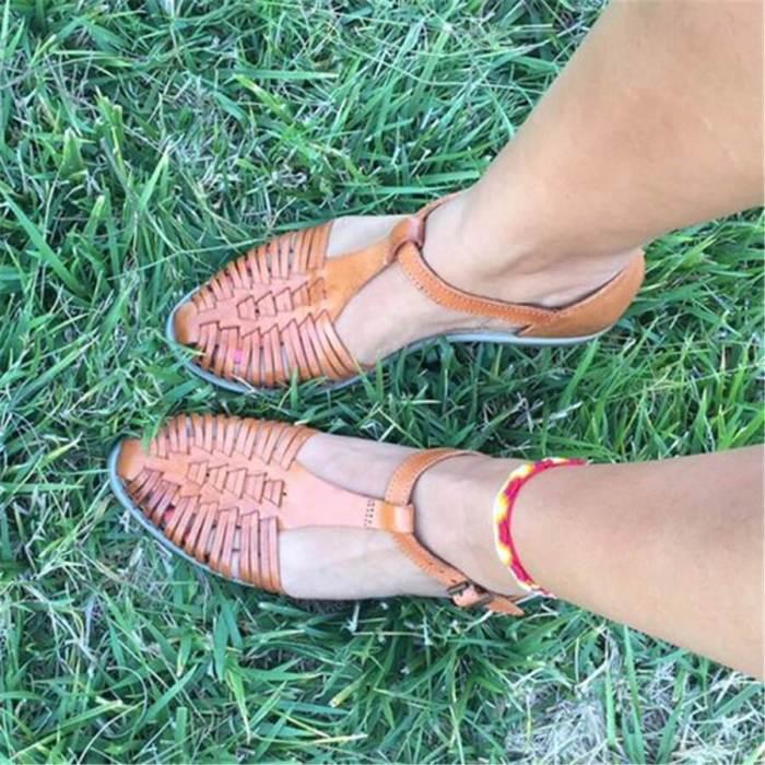 Retro Openwork Flat Sandals