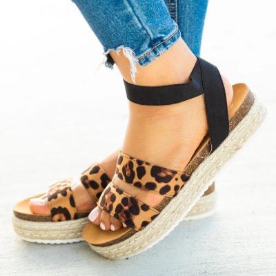Cuteshoeswear CuteshoeswearLitthing Leopard Sandals Summer Women Open Toe Casual Ankle Strap Shoes Ladies Outdoor Beach Flip Flops Female Platform