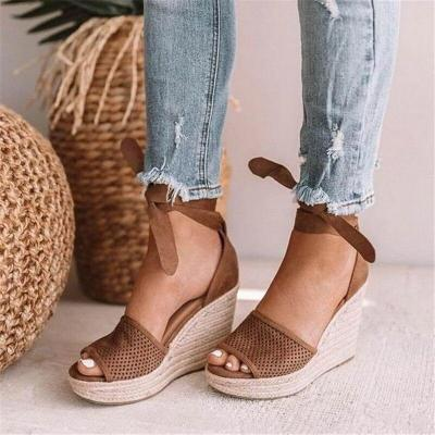 Cuteshoeswear CuteshoeswearLitthing  Women Wedge Sandals Female Floral Bowknot Platform High Heel Sandals Fashion Ankle Strap Open Toe Ladies Shoes