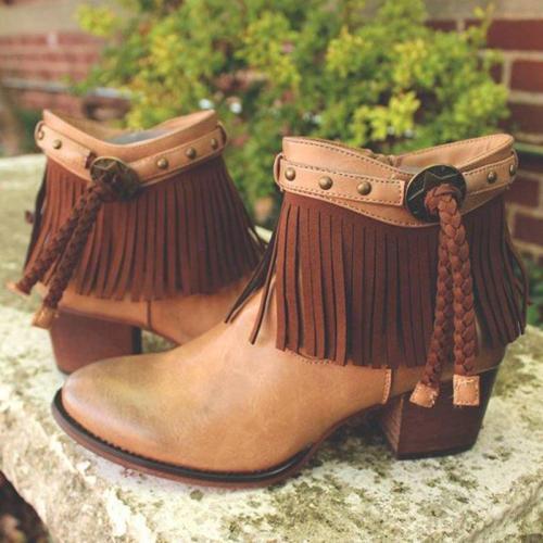 Woman Tassel Rivet Chunky Heel Round Toe Ankle Boots