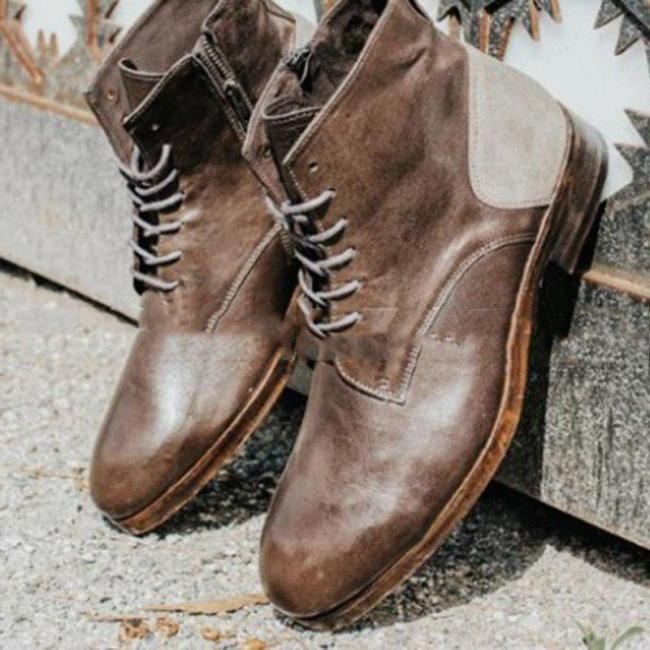 All Season Chunky Heel Lace-up Ankle Boots