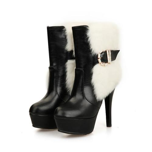 Fur Platform High Heels Short Boots Plus Size Women Shoes 9446