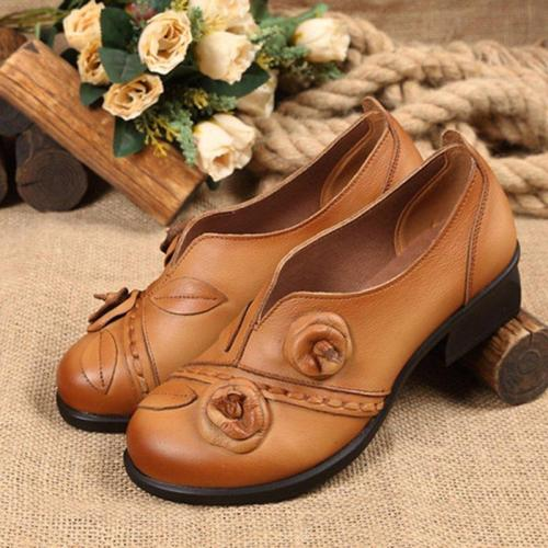Slip-On Flower Loafers Womens Elegant Handmade Shoes