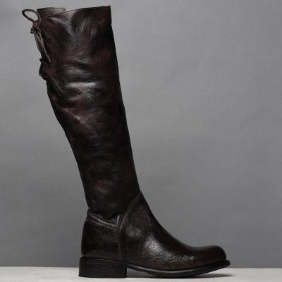 Artificial Leather Zipper Round Toe Strappy Knee-High Boots