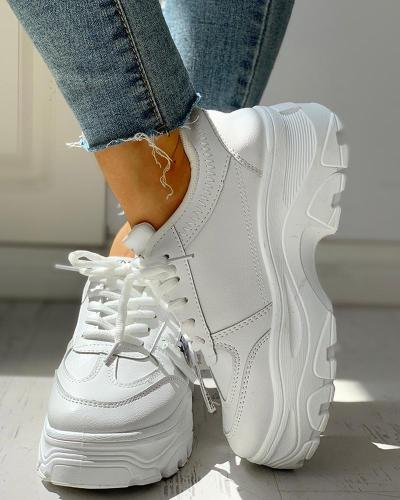 PU Platform Lace-Up Casual Sneakers