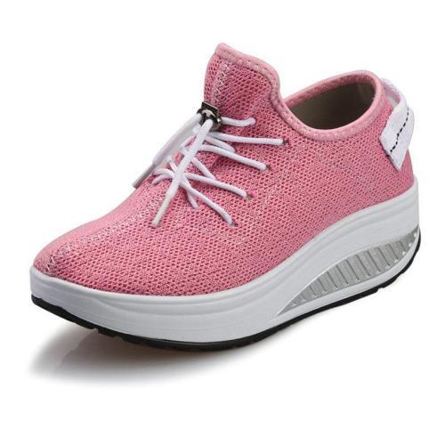 Mesh Breathable Platform Lace Up Rocker Sole Shoes